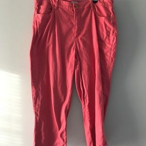 Plus Size Pink Denim Cropped Pants Size 16
